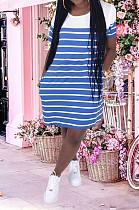 Dark Blue Casual Striped Short Sleeve Round Neck Shift Dress YM8121