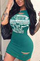 Green Casual Polyester Short Sleeve Round Neck Ripped Shift Dress YM8020