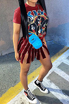 Red Casual Polyester Cartoon Graphic Short Sleeve Round Neck Mini Dress ALS194