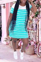 Light Blue Casual Striped Short Sleeve Round Neck Shift Dress YM8121