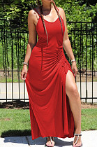 Red Casual Polyester Sleeveless V Neck Spaghetti Strap  Open Back Split Hem Knotted Strap HM5329