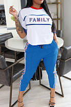 Bleu Casual Polyester Lettre À Manches Courtes Col Rond Tee Top Long Pantalon Ensembles OMY8061