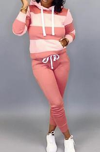 Rose Casual Polyester Rayé À Manches Longues Taille Cravate Sweat À Capuche Long Pantalon Ensembles OMY5172