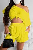 Yellow Casual Polyester Short Sleeve Tee Top Shorts Sets R6308