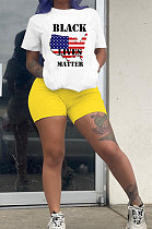 Yellow Casual Map Graphic Short Sleeve Round Neck Tee Top Shorts Sets YLY674