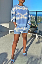 Light Blue Casual Tie Dye Long Sleeve Round Neck Longline Top Shorts Sets YM8125
