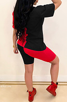 Black Red Casual Polyester Short Sleeve Round Neck Tee Top Shorts Sets CY1240