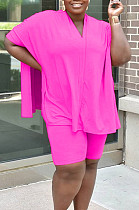 Rose Red Casual Polyester Batwing Sleeve V Neck Tee Jag Top Shorts Sets MR2047