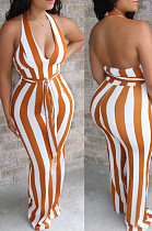 Apricot Casual Striped Sleeveless Halterneck Bodycon Jumpsuit BS1205