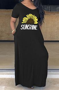 Black Casual Floral Short Sleeve V Neck Slant Pocket Long Dress YM8126