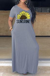 Gray Casual Floral Short Sleeve V Neck Slant Pocket Long Dress YM8126