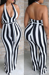 Black  Casual Striped Sleeveless Halterneck Bodycon Jumpsuit BS1205
