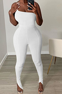 White Sexy Polyester One Shoulder Jag Cami Jumpsuit GL6279