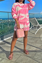 Pink Casual Tie Dye Long Sleeve Round Neck Longline Top Shorts Sets YM8125