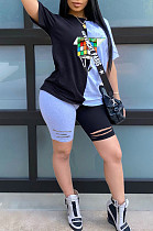 Black Blue Casual Polyester Short Sleeve Round Neck Tee Top Shorts Sets CY1240
