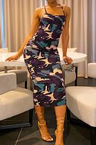 Камуфляжное сексуальное платье без рукавов с открытой спиной и средней талией KF160