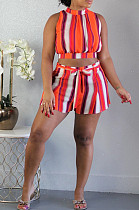 Orange Casual Polyester Striped Sleeveless Round Neck Waist Tie Tank Top Shorts Sets SH7905