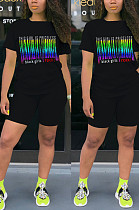 Black Casual Letter Short Sleeve Round Neck Tee Top Shorts Sets YLY670