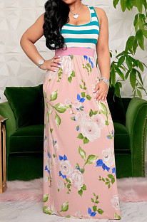 Pink Casual Polyester Floral Sleeveless Round Neck Spliced Mid Waist Long Dress KF180