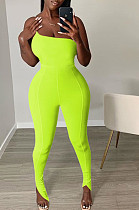 Neon Yellow Sexy Polyester One Shoulder Jag Cami Jumpsuit GL6279