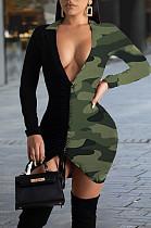 Green Sexy Camo Long Sleeve Deep V Neck Shirred Detail Mini Dress YM8083