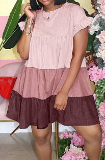 Pink Casual Polyester Short Sleeve Round Neck Spliced Ruffle A Line Dress GL6278