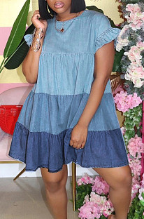 Blue Casual Polyester Short Sleeve Round Neck Spliced Ruffle A Line Dress GL6278