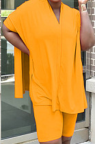 Оранжевый повседневный полиэстер Batwing рукавом V-образным вырезом Tea Jag Top Шорты Комплекты MR2047