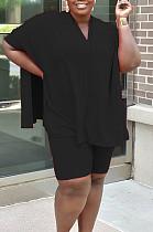 Черный случайный полиэстер Batwing рукавом V шеи Tee Jag Top шорты комплекты MR2047