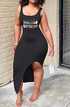Черное сексуальное платье без рукавов с квадратным вырезом и высокой талией SH7185