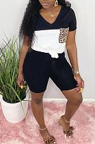 Black Casual Polyester Leopard Short Sleeve V Neck Spliced Tee Top Shorts Sets LD8716