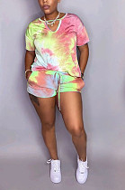 Colorful Yellow Casual Tie Dye Short Sleeve V Neck Tie Front Shorts Sets QZ4204