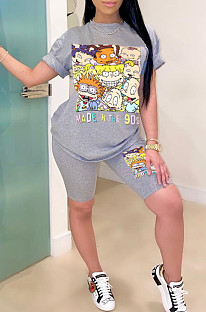 Gray Casual Polyester Cartoon Graphic Short Sleeve Round Neck Tee Top Shorts Sets YSH6140