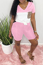 Pink Casual Polyester Leopard Short Sleeve V Neck Spliced Tee Top Shorts Sets LD8716