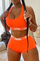 Πορτοκαλί Καθημερινό Πολυεστέρας Γράμμα Αμάνικο Μπλουζάκι Σετ Σορτς LD8728