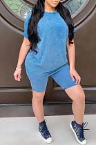 Μπλουζάκια με σορτς μπλουζάκι με στρογγυλή μπλούζα από πολυεστέρα μπλε LD8729