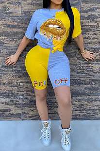 Yellow Blue Casual Polyester Mouth Graphic Short Sleeve Round Neck Spliced Tee Top Shorts Sets YSH6142