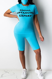 Light Blue Casual Polyester Letter Short Sleeve Round Neck Tee Top Capris Pants Sets YSH6143