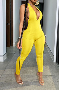 Yellow  Casual Short Sleeve Deep V Neck Backless Bodycon Jumpsuit BLX7515