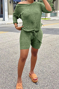 Green Casual Short Sleeve horizontal neck Tee Top Shorts Sets BLX7514