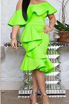 Светло-зеленое сексуальное платье миди с короткими рукавами и воланами OMM1072