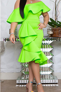 Lichtgroene sexy halternek midi-jurk met korte mouwen OMM1072