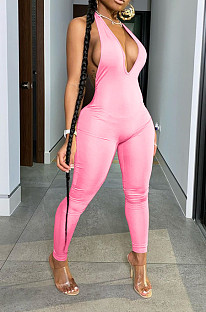 Pink Casual Short Sleeve Deep V Neck Backless Bodycon Jumpsuit BLX7515