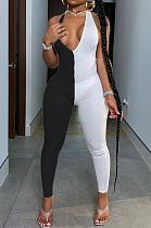 Черно-белый сексуальный комбинезон без рукавов из полиэстера с V-образным вырезом без рукавов RB3075
