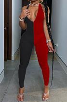 Красно-черный сексуальный полиэстер без рукавов с V-образным вырезом и облегающим комбинезоном RB3075