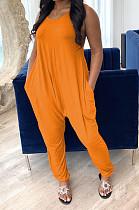 Orange Casual Sleeveless Round Neck Slant Pocket Tank Jumpsuit W8291