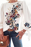 White Casual Polyester Floral Long Sleeve Round Neck Tee Top DMM8130