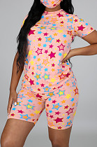 Pink Casual Polyester Short Sleeve Round Neck Tee Top Shorts Sets CCY8551