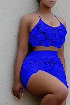 Royal Blue Casual Polyester Floral Sleeveless Halterneck Guipure Lace Crop Top Shorts Sets QQM3191