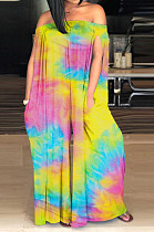 Yellow Casual Polyester Tie Dye Off Shoulder Tube Jumpsuit SM9098